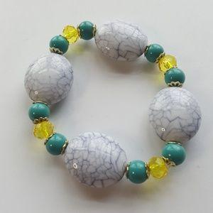 💥White crackled stone 💎💛🤤 Statement Bracelet